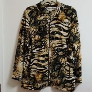 Onque Woman Velour Animal Print Full Zip Jacket
